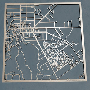 SUNY Potsdam 3D Wooden Laser Cut Campus Map - Silvan Art