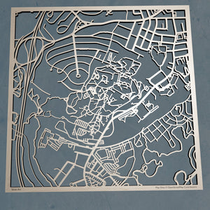 Brandeis University 3D Wooden Laser Cut Campus Map | Unique Gift