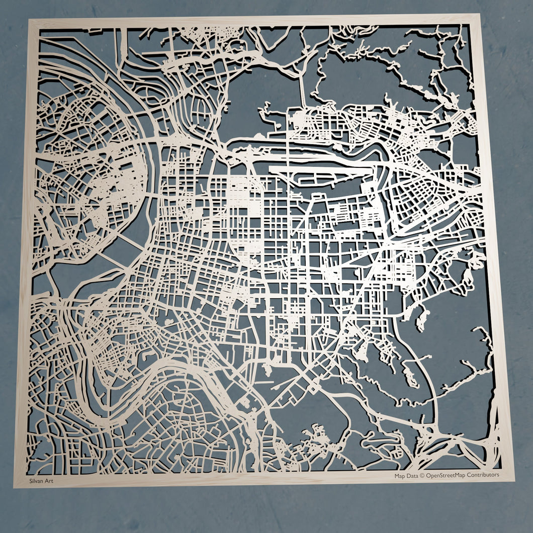 Taipei, Taiwan - 3D Wooden Laser Cut Map