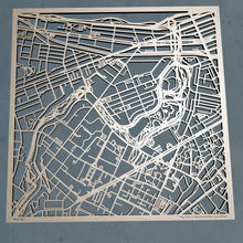 Load image into Gallery viewer, Simmons University 3D Wooden Laser Cut Campus Map - Silvan Art