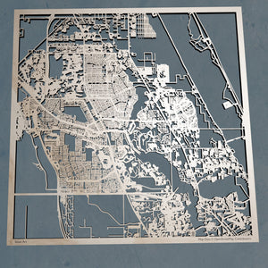 Port St. Lucie Florida - 3D Wooden Laser Cut Map | Unique Gift