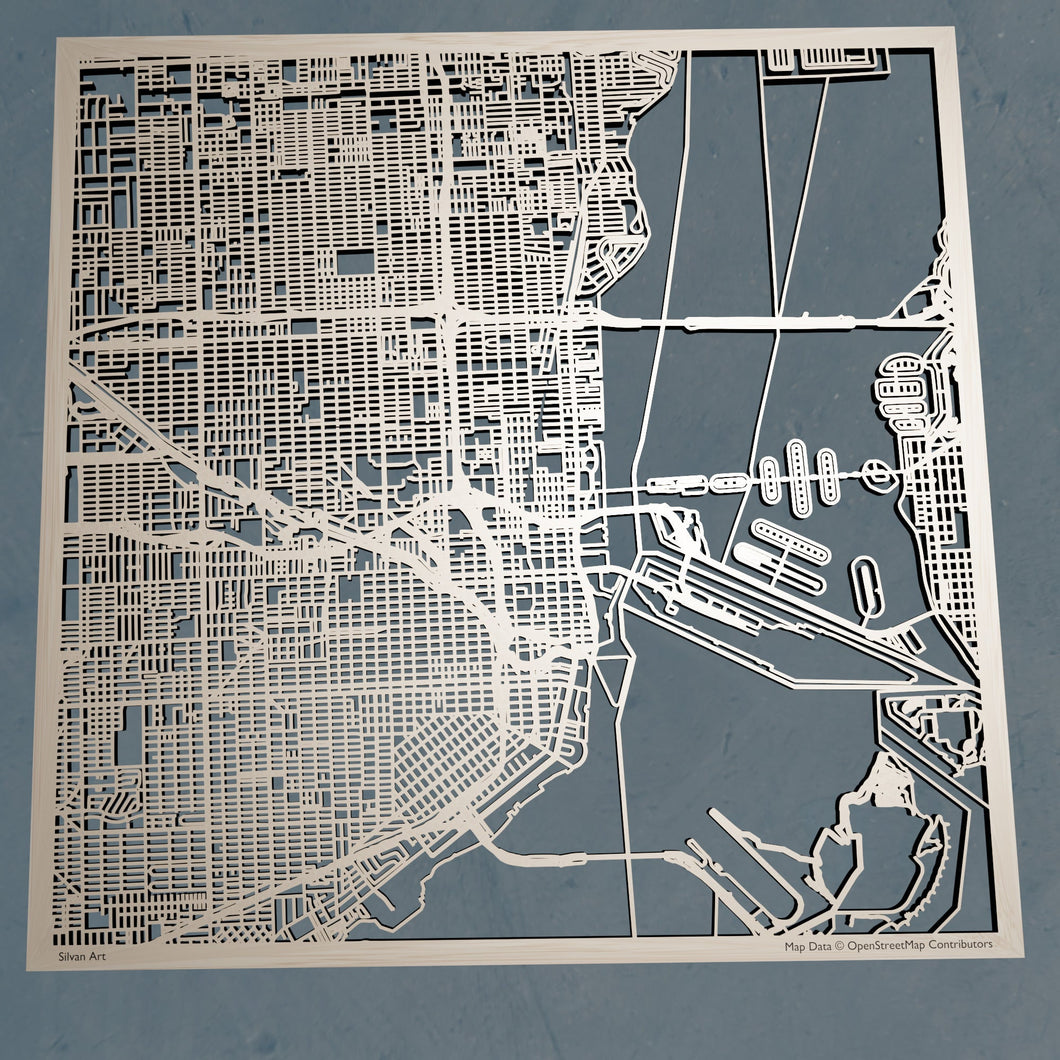 Miami, Florida - 3D Wooden Laser Cut Map
