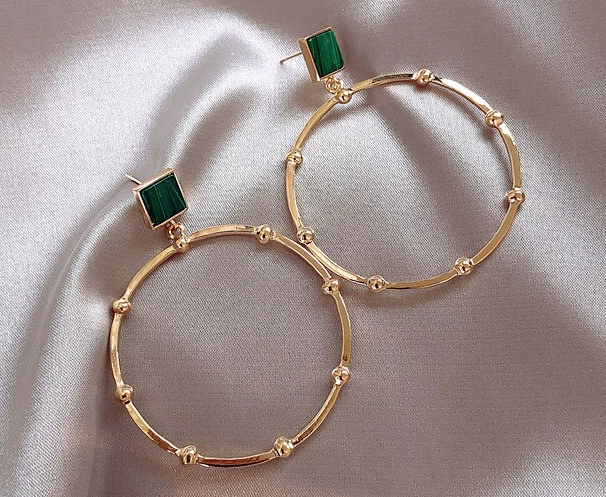 Large Hoop Earring with Green Acrylic Stud