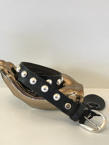 B Belt Black with silver dome studs