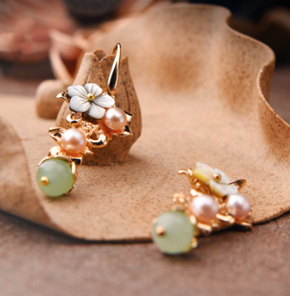 Flower Jade/Pearl Flower  Drop Earrings