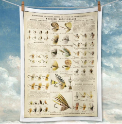 Fly Fishing Lures Tea towel