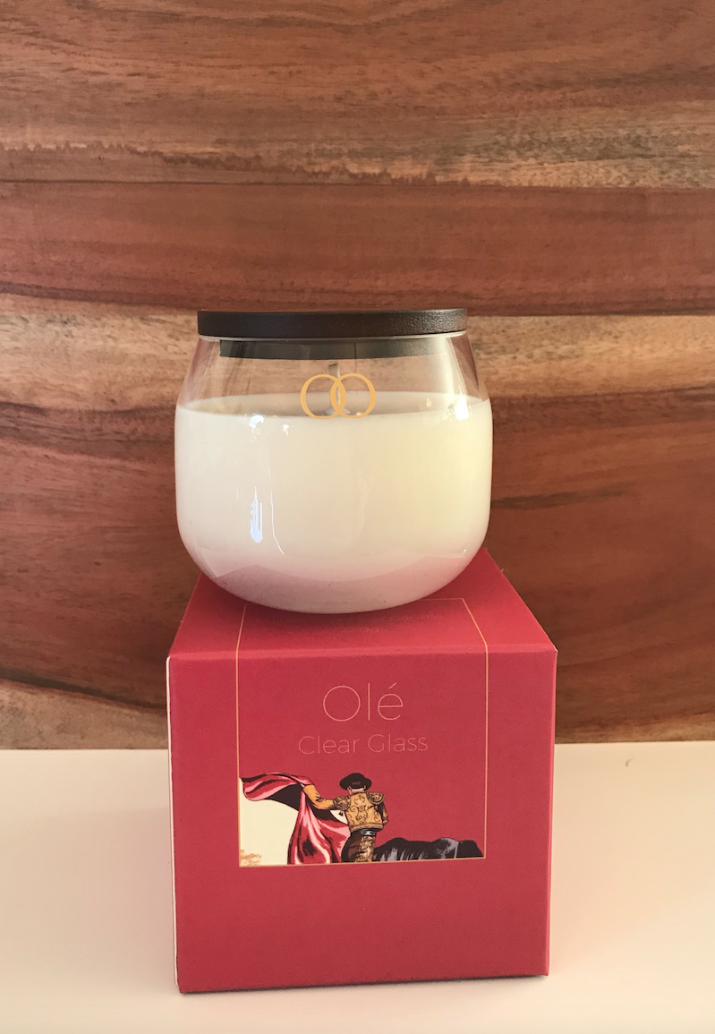 Ole Soy candle with Teak top