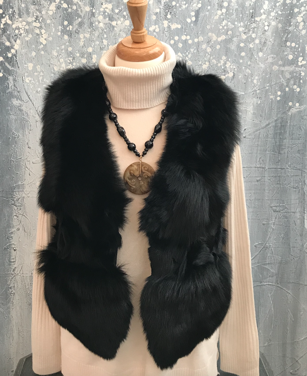 Black Rabbit Fur Vest