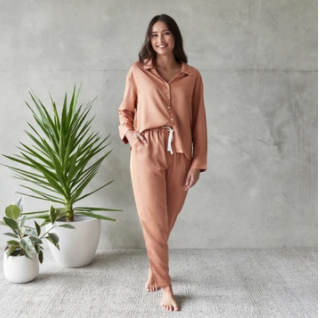 Jo Winter Bamboo Sleepwear Set Rust
