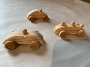 Set of Three Wooden Race Cars