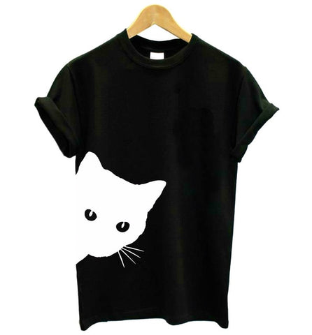 Casual Funny t shirt cat looking out side