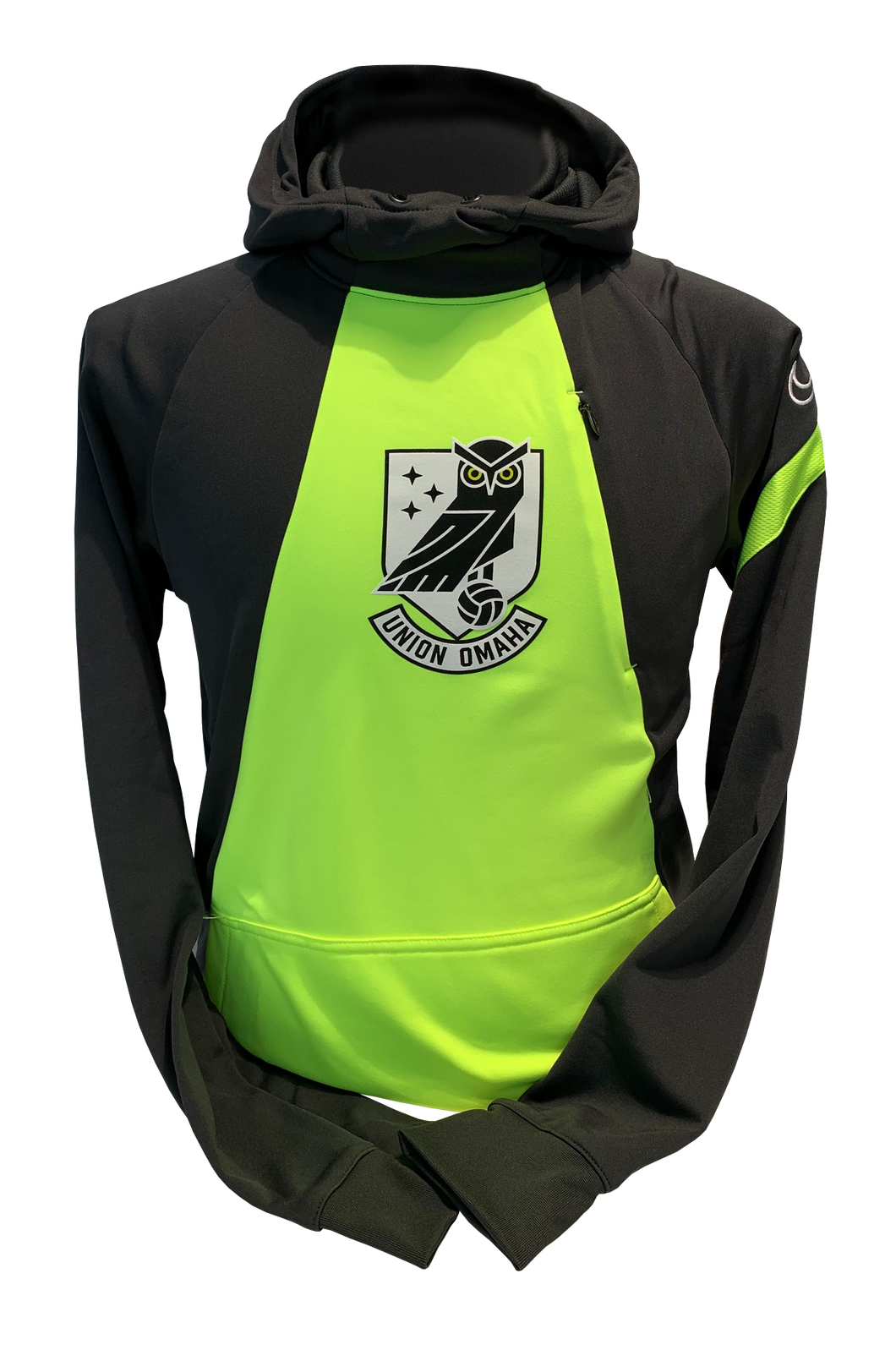 Union Omaha Youth Nike Anthracite/Volt Pro Crest Hoodie
