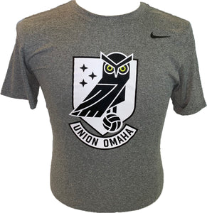 Union Omaha Youth Nike Legend Crew DriFit Carbon Heather Tee