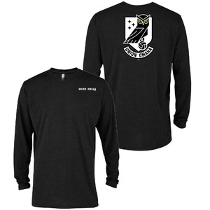 Union Omaha Men's BR Black Triblend Back Crest L/S Tee