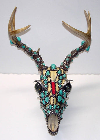 Turquoise Dragon (red tail deer skull)