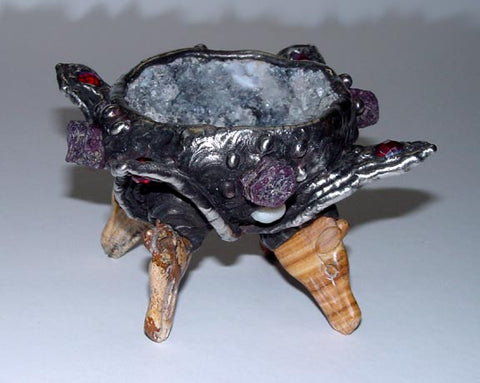 Geode crystal bowl on jasper agate horse stand