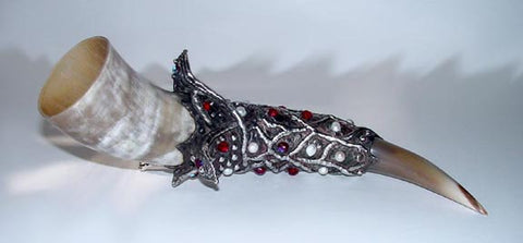 Steer drinking horn rubies and white pearls