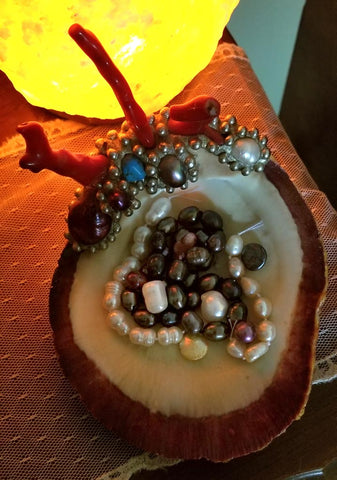 Waterhawk Creations shell bowl with pearls