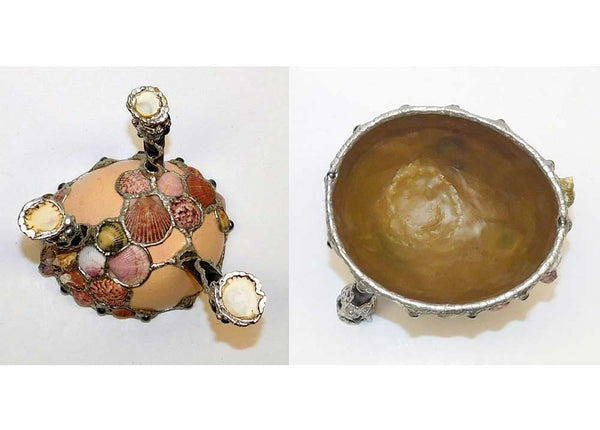 Surf Walker ostrich egg bowl with shells and horn legs top and bottom view