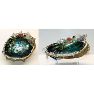Abalone shell jewelry bowl with amethyst, quartz and pearls