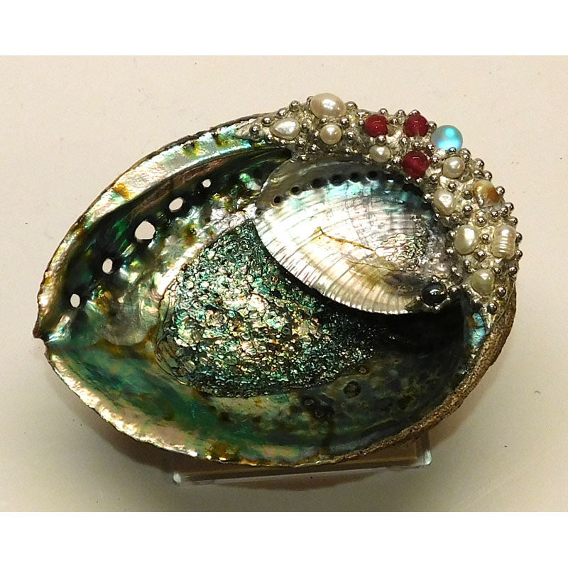 Abalone shell jewelry bowl with ruby crystals beads and pearls