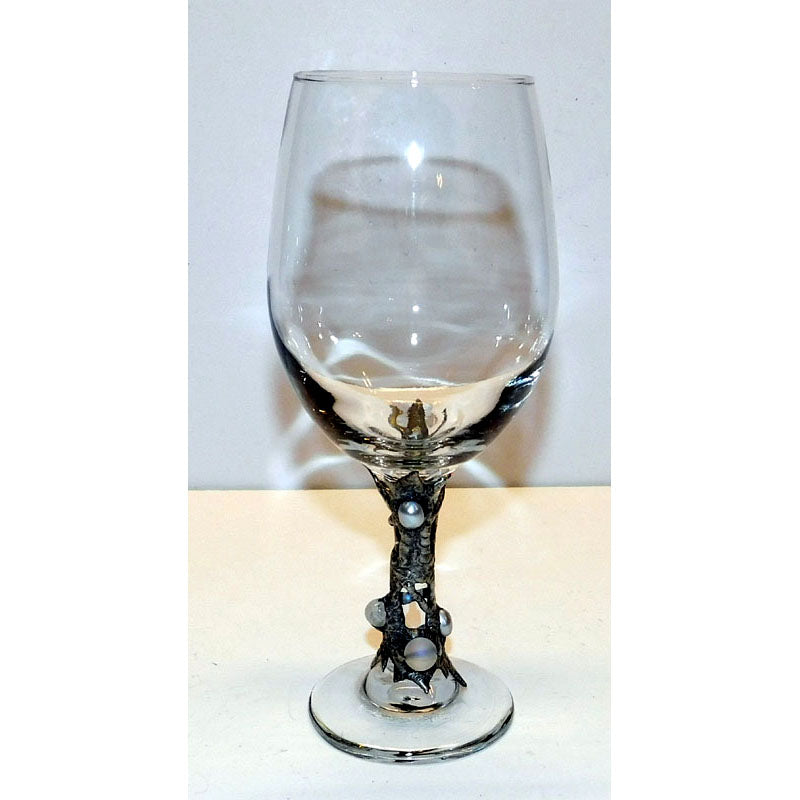 White wine glass with white pearls and ghost bead