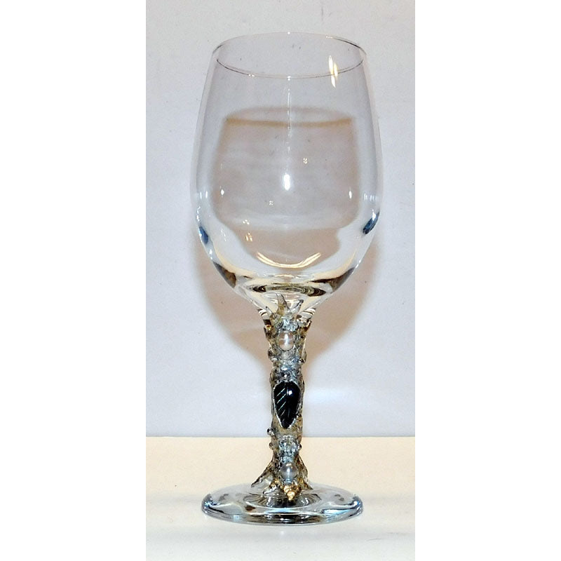 White wine glass with labradorite carved flower