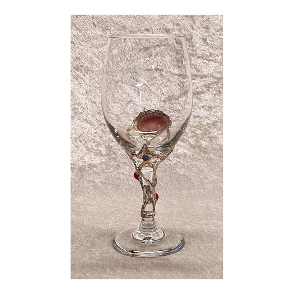 White 20oz drink o meter wine glass with rubies and black pearls back view