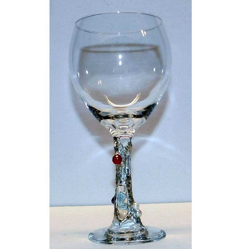 Red wine 20oz glass ruby and pearls