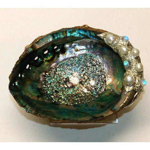 Abalone shell jewelry bowl with white pearls and ghost beads