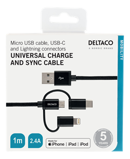DELTACO 3-in-1 USB Sync/Charging