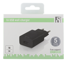 Wall Charger 100-240V to 5V USB, 1A, 5W, 1xUSB-A Port, black