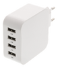 Image of USB Wall charger, 4 ports, USB Type-A, 4.8A, white