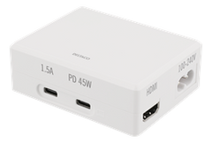 USB-C Power hub Docking station, 45W USB-C PD, 4K HDMI, USB 3.1 Gen 1, hvid