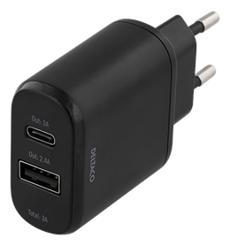 Wall charger 230V to 5V USB, 3A 15W, 1xUSB-C, 1xUSB-A, Black