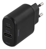 Image of Wall charger 230V to 5V USB, 3A 15W, 1xUSB-C, 1xUSB-A, Black