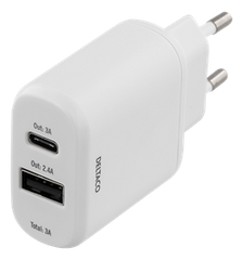 Wall charger 230V to 5V USB, 3A 15W, 1xUSB-C, 1xUSB Type A, White