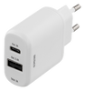 Image of Wall charger 230V to 5V USB, 3A 15W, 1xUSB-C, 1xUSB Type A, White