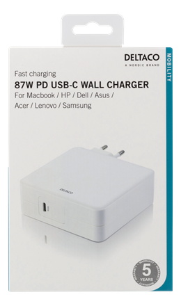 87W USB-C Power supply, Fast charging, USB-C PD, white