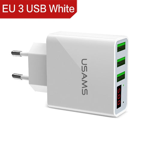3 Port USB Phone Charger LED Display Smart Fast Charger Mobile Wall Charger