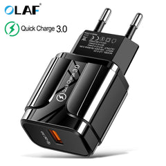 3A Quick Charge 3.0 USB  Mobile Phone Charger Adapter for iPhone X MAX 7 8