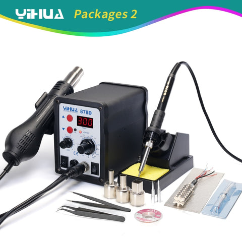 220V YIHUA 878D Hot Air Gun Soldering Station With 907A Soldering Iron Station