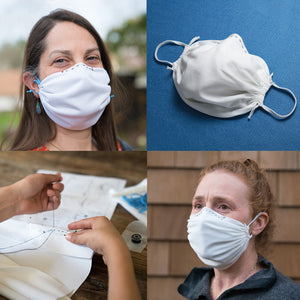 4-pack white-Adult and Child DIY Reusable Face Masks