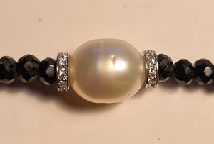 South Sea Pearl & Black Spinel Sterling Silver Bracelet