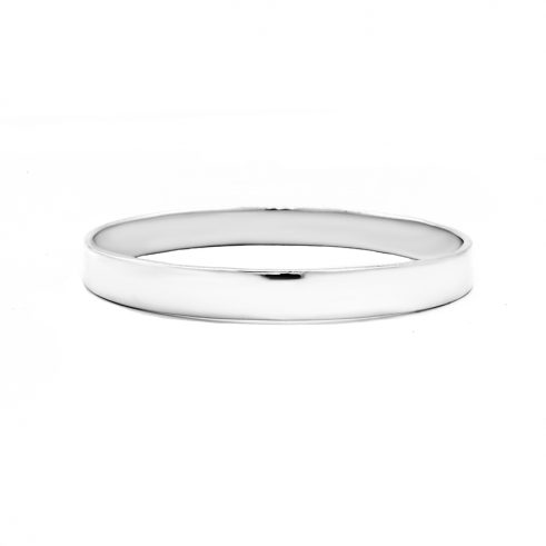 Sterling Silver 8 mm Both Side Flat Plain Bangle