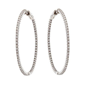 Sterling Silver Rhodium Plated 40mm CZ hoops