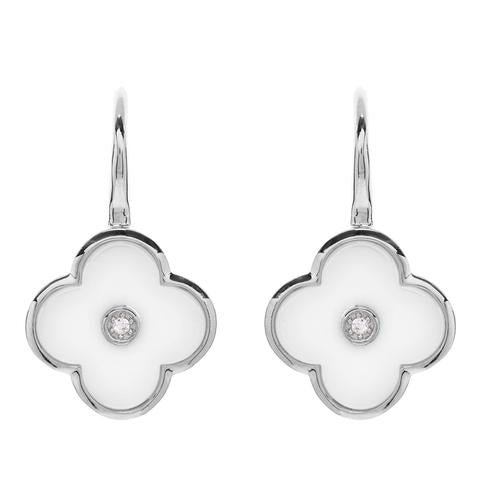 SS Rhodium Plated CZ & White Ceramic Flower Drop Earrings