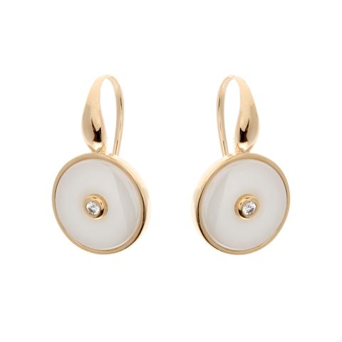 Sterling Silver Round CZ White Ceramic Earrings