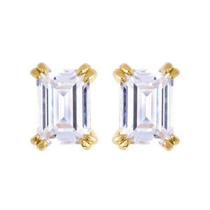 SS Yellow Gold Plated Baguette CZ Studs