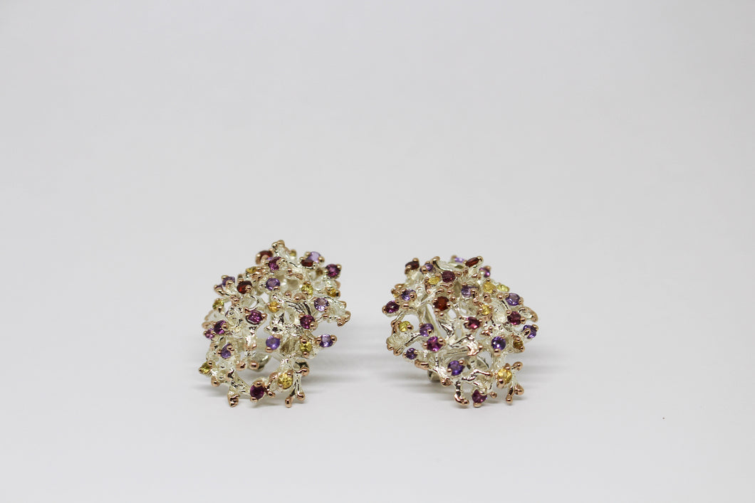 Sterling Silver Garnet, Citrine & Amethyst Earrings